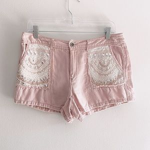 FREE PEOPLE blush pink embroidered linen shorts 8